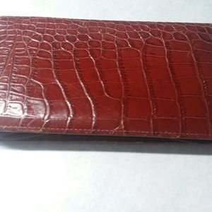 Brown Leather Croco Checkbook Wallet